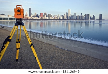 Theodolite set in downtown Chicago - stock photo