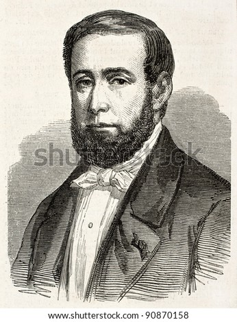 Theodore Chenneviere old engraved portrait, French textile manufacturer.  Created by Marc, published on L'Illustration, Journal Universel, Paris, 1858 - stock photo