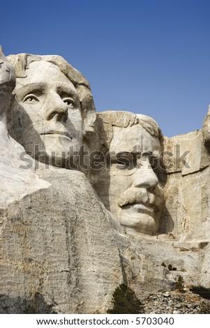 Theodore Roosevelt and Thomas Jefferson sculpture at Mount Rushmore National Monument, South Dakota. - stock photo