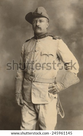 Theodore Roosevelt in the uniform of an Army Colonel during the Spanish American War. Commanded a volunteer regiment of 'Rough Riders' who gained fame with capture of San Juan Hill on July 1 1898. - stock photo