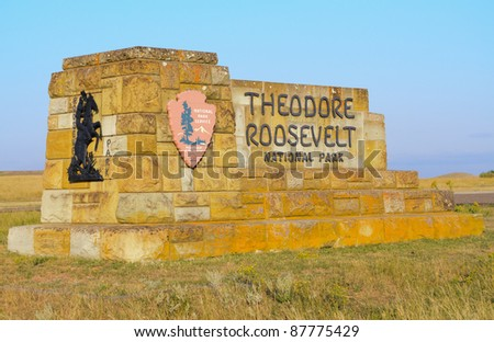 Theodore Roosevelt National Park sign - stock photo