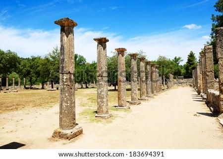 Theokoleon ruins in ancient Olympia, Peloponnes, Greece. - stock photo