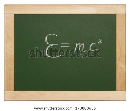 Theory of relativity written on blackboard - stock photo