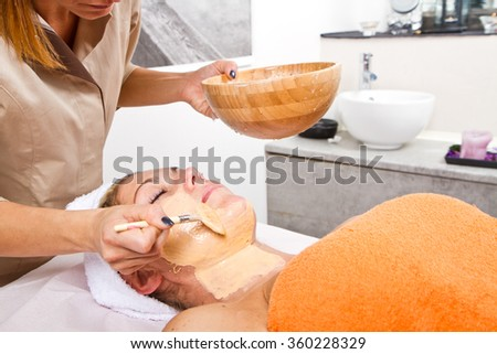 Therapist applying a face mask to a beautiful young woman in a spa using a cosmetics brush  - stock photo