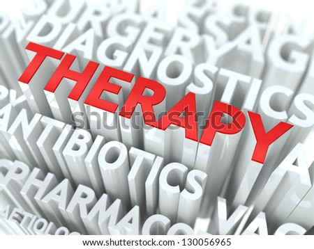 Therapy Concept. The Word of Red Color Located over Text of White Color. - stock photo