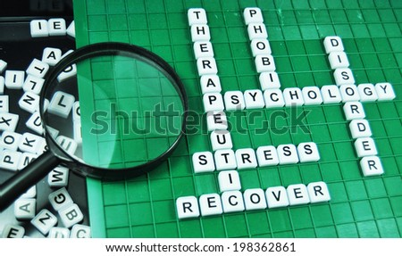 Therapy concept with thematic keywords on game board - stock photo