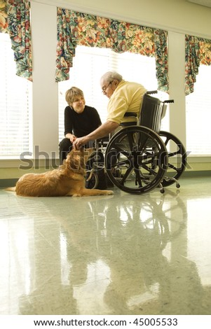 Therapy dog is pet by an elderly man in a wheelchair and a younger woman. Vertical shot - stock photo