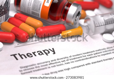 Therapy - Printed Diagnosis with Blurred Text. On Background of Medicaments Composition - Red Pills, Injections and Syringe. - stock photo