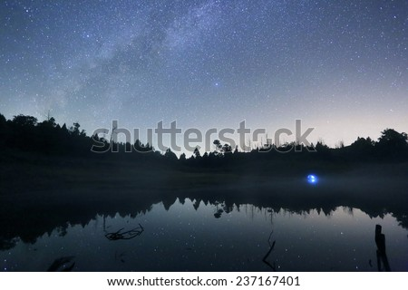 there are beautiful milky way,stars,  and mirror lake  - stock photo