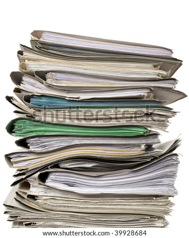There are documents and papers on white background