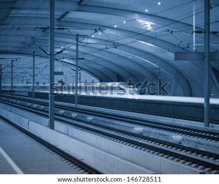 there are many high-speed bullet train at the railway station - stock photo