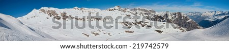 There are many pistes on the slopes covered with snow in the winter Pyrenees.  - stock photo