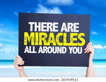 There Are Miracles All Around You card with beach background - stock photo