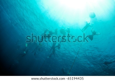 There are some underwater silhouettes of freedivers who train in the depth of the Blue Hole, Red Sea, Egypt - stock photo