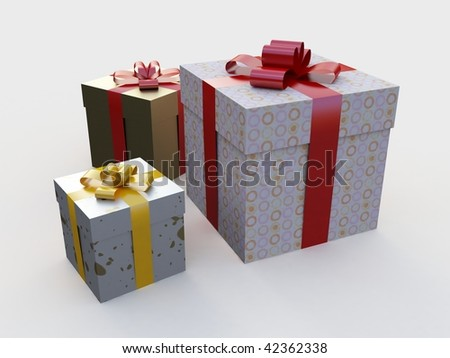 There are three boxes with gifts