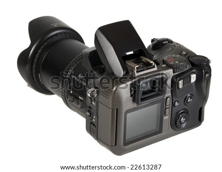 There is a black photo camera with lens