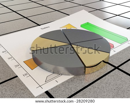 There is a diagram of sales - stock photo