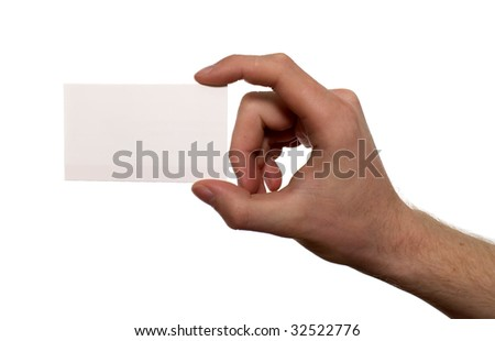 There is a white card holding by hand of man