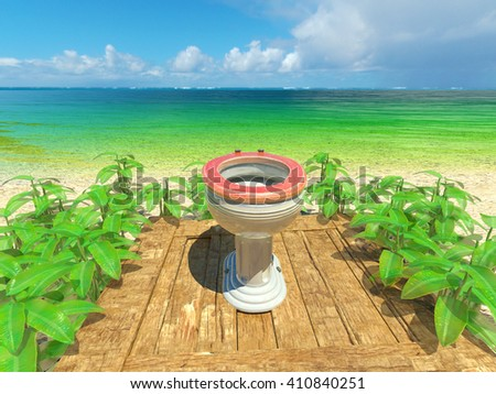 There is far from all of the things. Open toilet.3D rendering. - stock photo