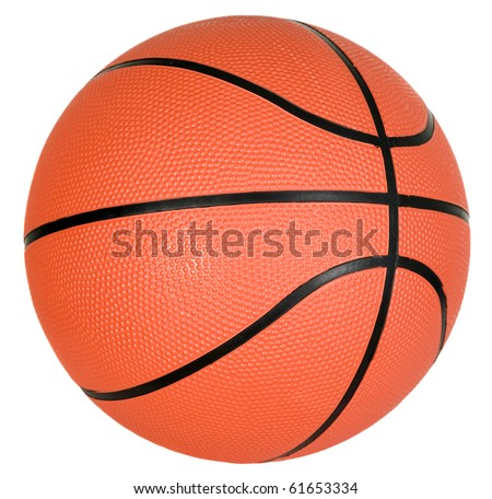 There is orange ball with black strips for basketball game - stock photo