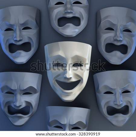 There Is Still Joy Among The Sadness. Comedian and tragedy theater masks on reflective glossy background. 3D rendered graphics. - stock photo