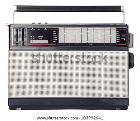 There is the old isolated metal radio - stock photo
