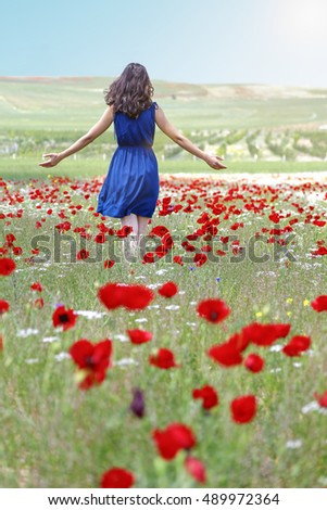 There Is Very Natural Place In Turkey And Happy Young Woman With Wild Flower