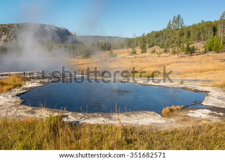 Thermal area of Yellowstone National Park called Terrace Springs.  - stock photo