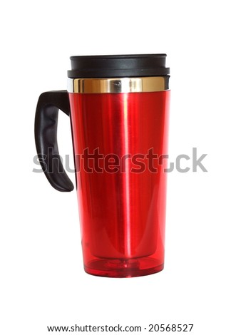 Thermal cup isolated on white, with clipping path - stock photo
