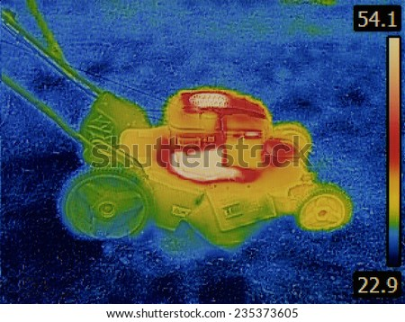 Thermal Image Failure Detection of Lawn Mower - stock photo