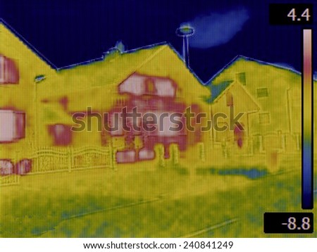 Thermal Image of a Heat Loss - stock photo
