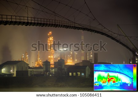 Thermal Image of Heat Loss in Oil Refinery - stock photo