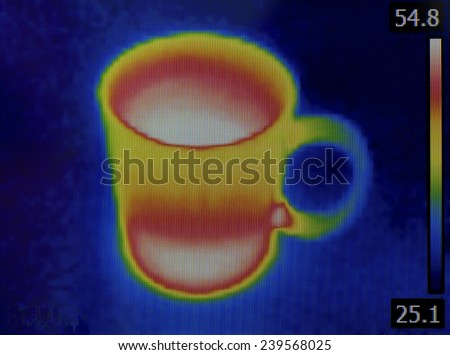 Thermal Image of Hot Teacup - stock photo