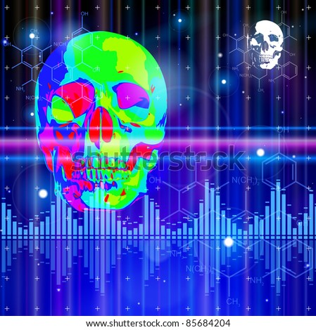 Thermal image of the human skull, blue technology background, lights, chemical formulas & digital wave. Bitmap copy my vector ID 73068157 - stock photo