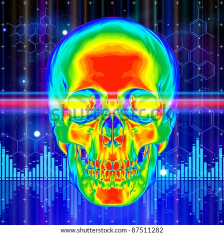Thermal image of the human skull, blue technology background, lights, chemical formulas & digital wave. Bitmap copy my vector id 73544257 - stock photo