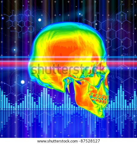 Thermal image of the human skull, blue technology background, lights, chemical formulas & digital wave. Bitmap copy my vector id 74035825 - stock photo