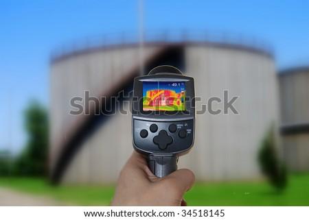 Thermal imaging camera of a tank - stock photo