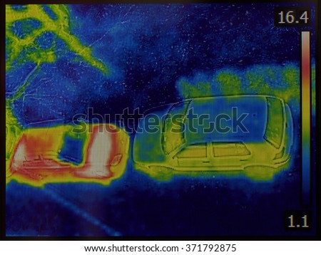 Thermal Imaging of Cars Night Vision Infrared Image - stock photo