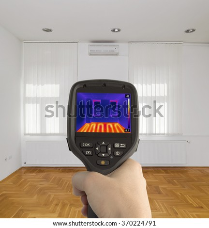 Thermal Imaging of Underfloor Heating - stock photo