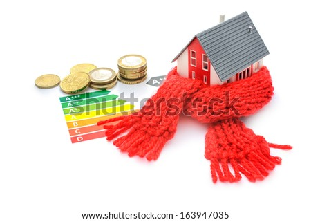 Thermal insulation, house energy efficiency concept isolated on white - stock photo