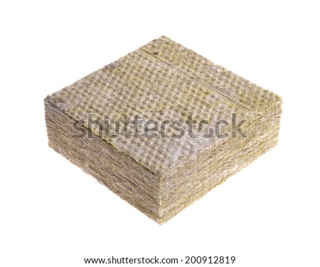 Thermal insulation  -mineral wool  isolated on white   - stock photo