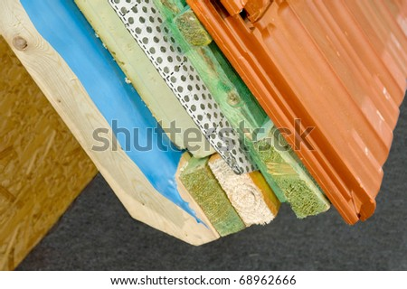 Thermal insulation of a house roof - stock photo