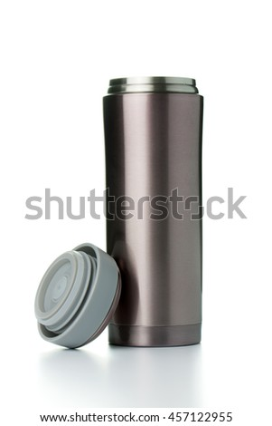 Thermal mug with lid on white background