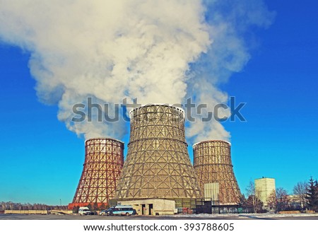 Thermal power plant in city - stock photo