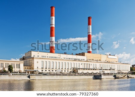 thermal power plant in Moscow on the waterfront - stock photo
