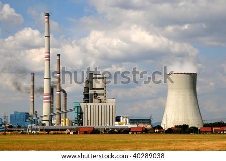 Thermal power plant Melnik in Horni Pocaply (Czech Republic) - stock photo