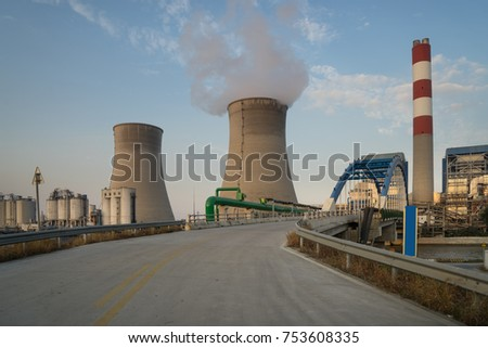 Thermal power plant stack and road
