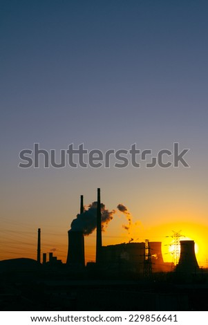 Thermal power plant when sunrise,Beijing - stock photo