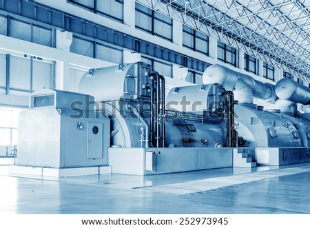 Thermal power plants, large-scale thermal power machine, empty shop. - stock photo