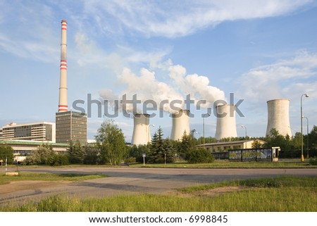 Thermal power station Chvaletice - Czech republic - stock photo